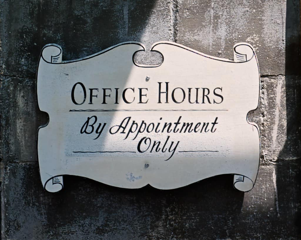 office hours by appointment only image